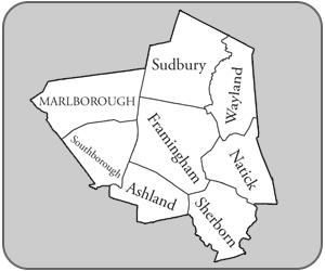 Towns bordering Framingham, MA (USA)